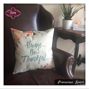 Other - Be Thankful linen blend pillowcase pillow cover